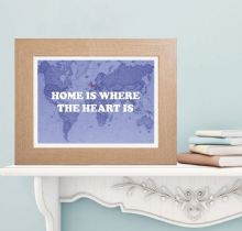 Home is Where the Heart is Map Print - Personalised Housewarming or Bon Voyage Gift